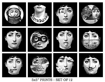 5x5'' FORNASETTI STYLE PRINTS SET home gallery wall decor picture vintage beauty