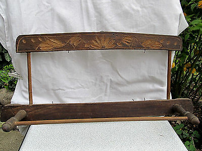 Antique Primitive Old Hand Carved Wooden Wall Hanging Mirror Frame