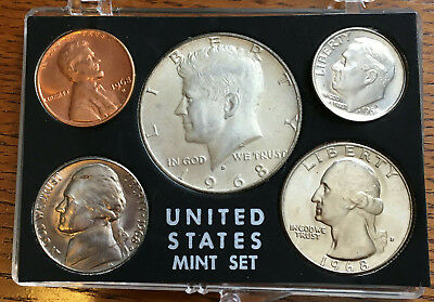 1968 U.S.A. MINT FIVE-COIN SET~Denver~Uncirculated~40% Kennedy Half-Dollar OGP