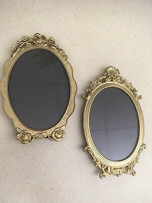 Beautiful Oval Brass Antique Victorian Ornate Picture Frames Office Cubical Home