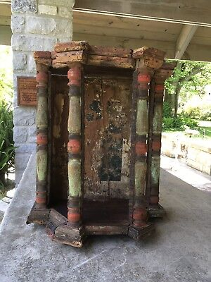 Rare Antique Tabernacle Niche Polychrome Wooden Stunning Patina