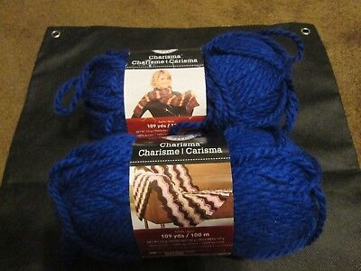 MICHAEL'S LOOPS AND Threads Charisma Yarn - Royal Blue - Lot of 3