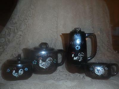 7 Pc.Vntg~Antq Black Hand-Painted Rooster RedWare Art Pottery Coffee Tea Pot Set