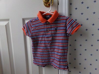 Baby Boys Polo RALPH LAUREN Striped Blue Orange Collared Shirt Size 18 Months