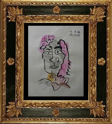 FOR SALE -  PABLO PICASSO DRAWING ON PAPER SIGNED  watercolor - NO PRINT