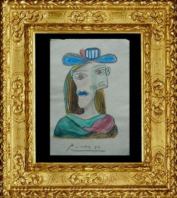 FOR SALE  -  PABLO PICASSO DRAWING ON PAPER SIGNED  watercolor - NO PRINT ---