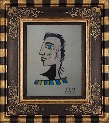 PABLO PICASSO DRAWING ON PAPER SIGNED --  watercolor -// NO PRINT ---- -