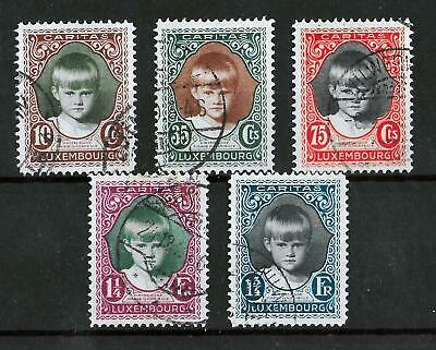 LUXEMBOURG 1929 Used Caritas Complete Set of 5 Michel #213-217 CV €80