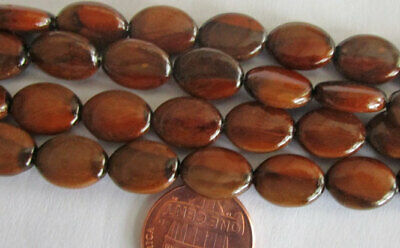 40 Deluxe Czech Glass Shiny Brown & Black Marbled Oval Beads 12mm x 8mm