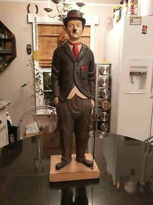 Large Antique Carved Wood Hand Painted Charlie Chaplin Statue