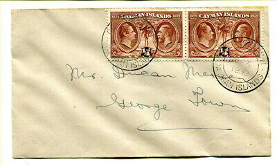 Cayman Islands 1932 Centenary pair of ¼d. stamps used locally on plain f.d.c.