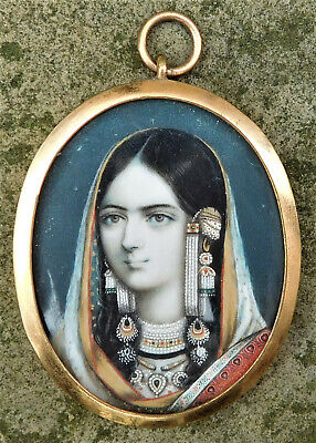 NO RESERVE Miniature Portrait of an Indian Princess Vintage Antique