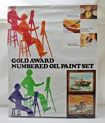 Vintage 1973 Gold Awards Numbered Oil Paint By Number Set-Fishermen STILL SEALED