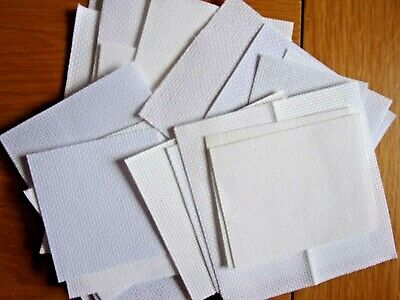 Aida. Cross stitch fabric. Various counts.White.Small project sized.20 pieces.