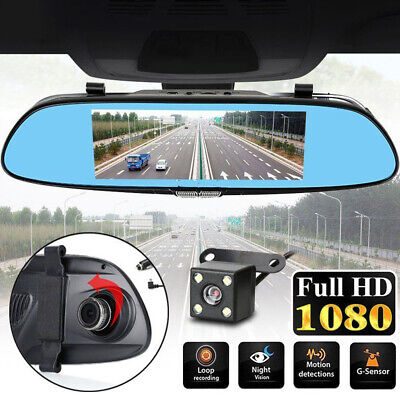 "7"" inch Dual Lens Car DVR Dash Cam Front and Rear Mirror Camera Video Recorder P"