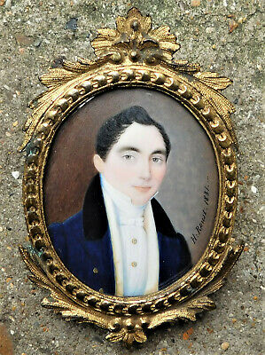 NO RESERVE 1831 Jean Henry Roust French Portrait Miniature Vintage Antique