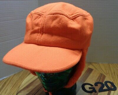 2f35e7733f63e Vintage Blaze Orange Hunting Hat With Ear Flaps Size Large Usa Made Vgc G20