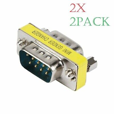 2x RS232 DB9 9 Pin Male to Male Gender Changer Mini Converter Extension Adapter