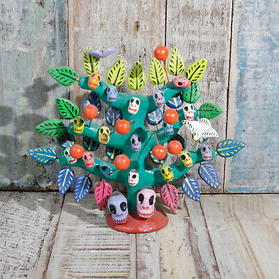 Mexican Ceramic Folk Art Tree Of SKuLLs N