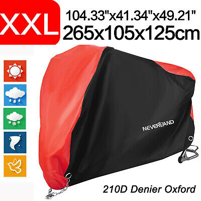 XXL 210D Black&Red Motorcycle Cover Waterproof Dustproof All Weather Protection