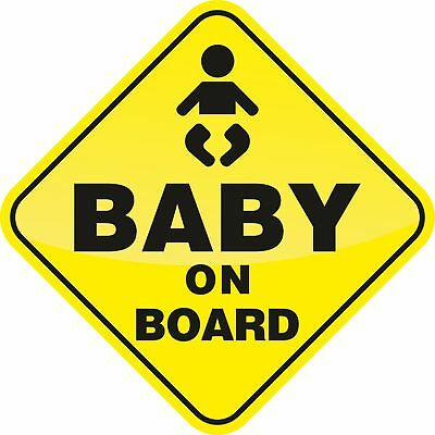 Baby On Board Yellow Car Window Sticker Children Adhesive Decal Safety Driving