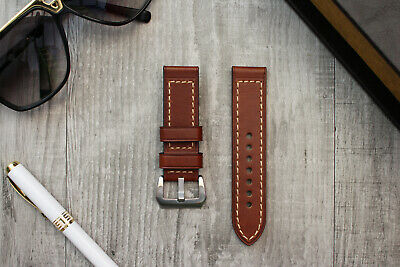 For OFFICINE PANERAI Luminor Marina PAM 24mm Thick Brown Calf Leather Watch Band