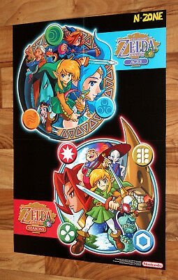 The Legend of Zelda Oracle of Seasons / Ages Rare Poster 2001 Nintendo Game Boy