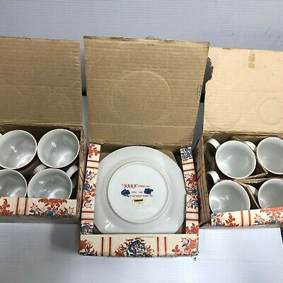Seymour Mann Nara Porcelain 8 Cups and 4 Plates Red and White