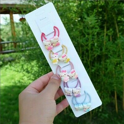 12pcs Set Hello Kitty Cat Soft Hair Bobbles Kids Girls Ladies Bands Accessories