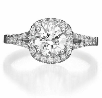 1.00 Ct Round Cut D/SI1 Solitaire Diamond Engagement Ring 14K White Gold