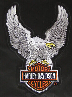 "Harley Davidson Up Wing Eagle Gray Patch XLarge ~ 10 1/2"" X 7 3/4"""
