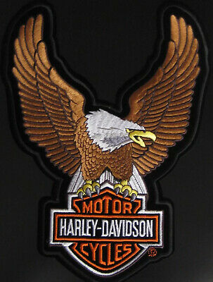 "Harley Davidson Up Wing Eagle Brown Patch XLarge ~ 10 1/2"" X 7 3/4"""