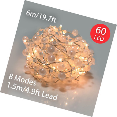 String Lights Battery Operated 60 LED 6M Pearl Fairy with 8 Functions & Timer fo