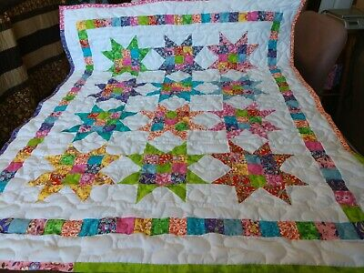 Handmade Pieced Scrappy 9- Patch Star Boy Girl Baby  Crib Quilt Throw Blanket