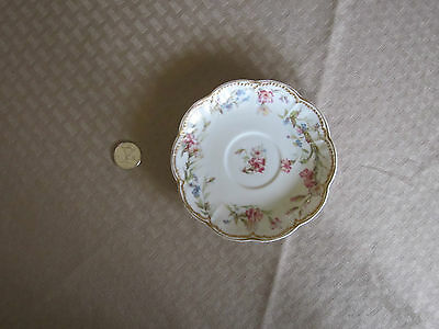 Haviland Limoges vintage porcelain saucer floral gold trim edge design France