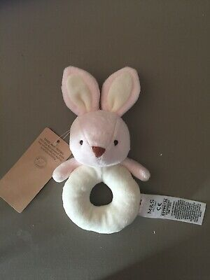Marks Spencer Pink Rabbit Soft Toy Bunny Ring Rattle Comforter Taggy New