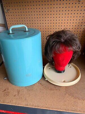 Vintage Carry All Wig Hat Box Carrier  Travel Case Victorian With Wig Human Hair