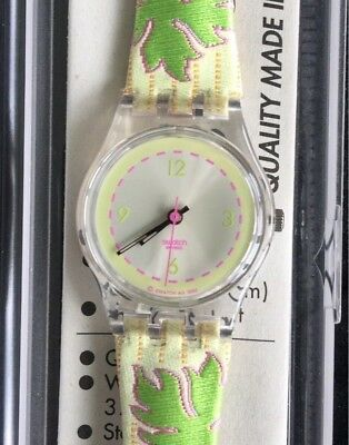 Nos New Hazy Daisy Gs119 Green Version Swatch Watch Watch Vintage Old Stock