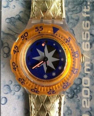 Nos New Golden Island Sdk112 Swatch Watch Watch Vintage Scuba 200 Old Stock
