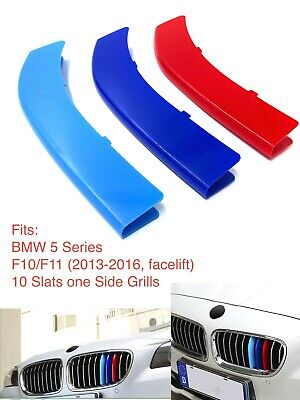M Power Sport Logo Kidney Grill 3 Colour Cover Abs 3 Strips Bmw 5 Series F10 F11
