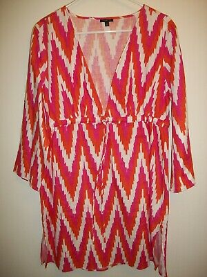 5c9d998c2b701 Talbots 100% Linen Tunic Top Lagenlook Swim Cover Up Pink Orange White Size  L