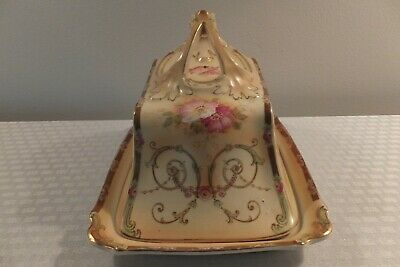 Antique Victorian Large Covered Cheese Dish With Ornate Handle & Floral Motif