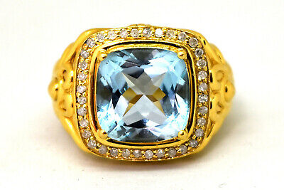 Stunning 18K Solid Yellow Gold, Blue Topaz and Natural Diamond Ring Size 9