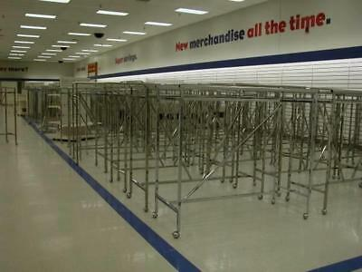 H Racks 5' Straight Used Clothing Store Displays LOT 25 Folding Rolling Double