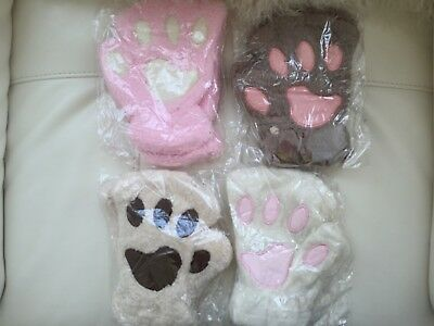 Womens Girls Fingerless Cat Claw Paw Gloves Soft Plush Finger out Mittens
