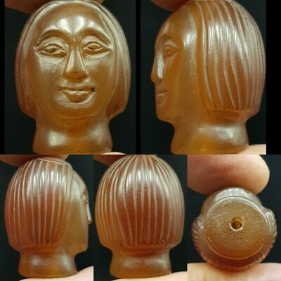 Antique Agate stone Carved Old Female Face Head Bead Amulet   #10 P