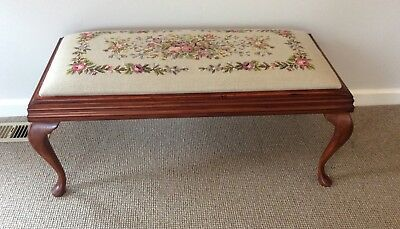 Tapestry Covered  Bedroom Stool ..Queen Anne Style ..