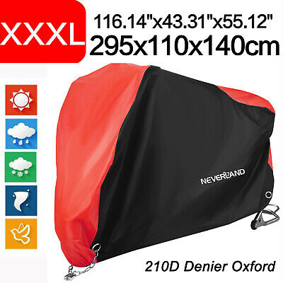 XXXL Black&Red Motorcycle Cover 210D Waterproof For Harley Touring Glide Cruiser