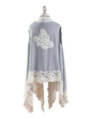 Victorian Trading Co Light Pink April Cornell Chantilly Lace Kimono Vest XS - S