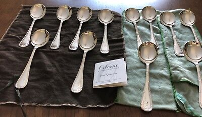 12 Osborne Of Sheffield Ribbon & Bow Silver Plated Soup Spoons